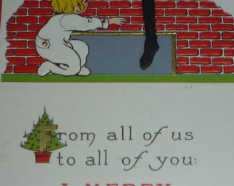 Child in Footed Pajamas Reaches for Stocking on Fireplace Antique Christmas Postcard