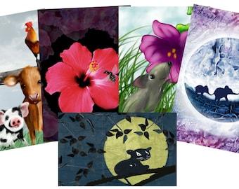 set of 5 postcards