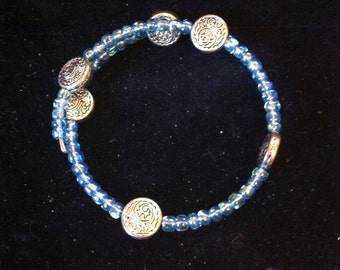 Blue and Silver Beaded Bracelet, Women's Fashion Accessory, Ready to Ship, Delicate Memory Wire Bracelet