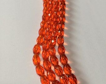 Fire Orange - Faceted Glass Ovals - 8mm x 10mm - 14 beads