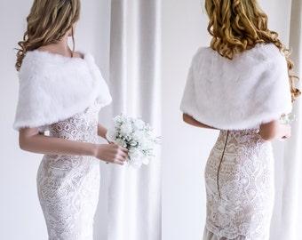 White Bridal Cape, White Fur Wrap, Bridal Fur Wrap, Bridal Fur Shrug, Faux Fur Cape, Winter Wedding