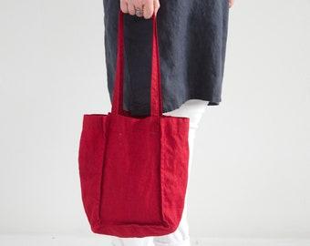 Linen Tote Bag - Natural Linen Tote Bag - Organic Bag - Linen Shopping Bag - Linen Shoulder Bag - Red Linen Tote Bag