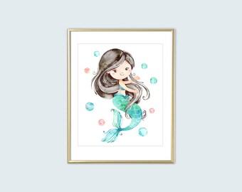 Mermaid Printable Wall Art Black Hair Mermaid Print, Girls Aqua Pink Watercolor Room Decor 8x10 Kids Bathroom Art Instant Digital Download