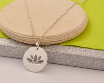 HANDMADE Sterling Silver LOTUS PENDANT, Yoga Pendant, Lotus Necklace, Yoga Lover Pendant, Yoga Necklace, Karma Pendant