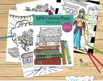 23 LDS Adult Coloring Book Pages BUNDLE set of 23 Hand drawn coloring pages