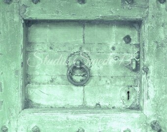 "Door Photo Art, Architectural Art, Green Cottage Farmhouse Rustic Decor, Primitive Rural Decor, Old Door, Weathered Decor- ""Simply Green"""
