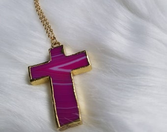 Cross Agate Long Necklace