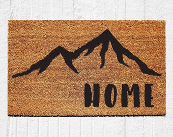 Home Doormat with Mountains | Welcome Mat | Door Mat | Outdoor Rug | Housewarming Gift | Colorado | Cabin Decor