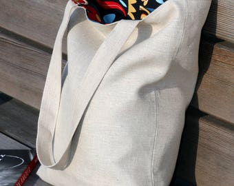 Tote bag canvas with lining Linen shopping bag Shoulder bag Beach bag Book bag