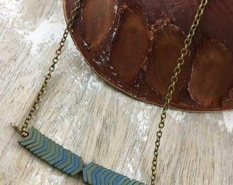 Green and Blue Hematite Chevron Boho Necklace