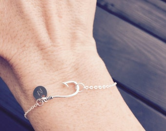 Sterling Silver Fish Hook Bracelet, Christian Jewelry, Silver Initial Bracelet, Sterling Anklet, Personalized Bracelet, Fishing Jewelry