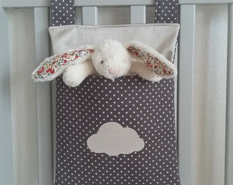 Baby room storage. Cotton fabric home decor. Cot or crib side organizer. Stroller bag. Pram caddy organiser. Grey and beige with cloud.