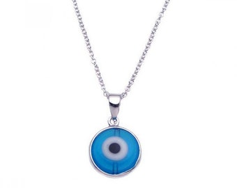 "16+2"" 925 Sterling Silver Blue Evil Eye Pendant Necklace / Free Gift Box(plbgp00240)"