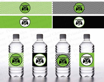 Video Game Themed - Water Bottle Label- INSTANT DOWNLOAD - .jpeg & .pdf files only- You Print