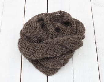 Charcoal Knitted wrap, Dark Brown knit Wrap