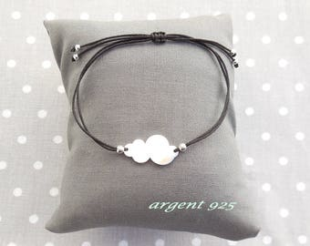 Bracelet minimalist cloud Silver 925 black cord