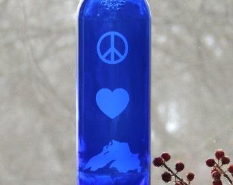 Lake Superior Art, Etched Wine Bottle, Peace Love and Lake Superior, Bottle Vase, Cobalt Blue