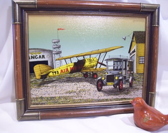 H Hargrove Aviation Art Bi Plane Oil Painting Airplane Mailman Serigraph Mail Delivery Dated 1994