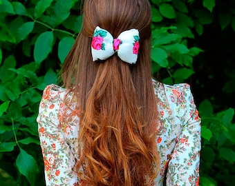 "Hairpin bow ""Rosie"" white with roses russian style for girls for hair"