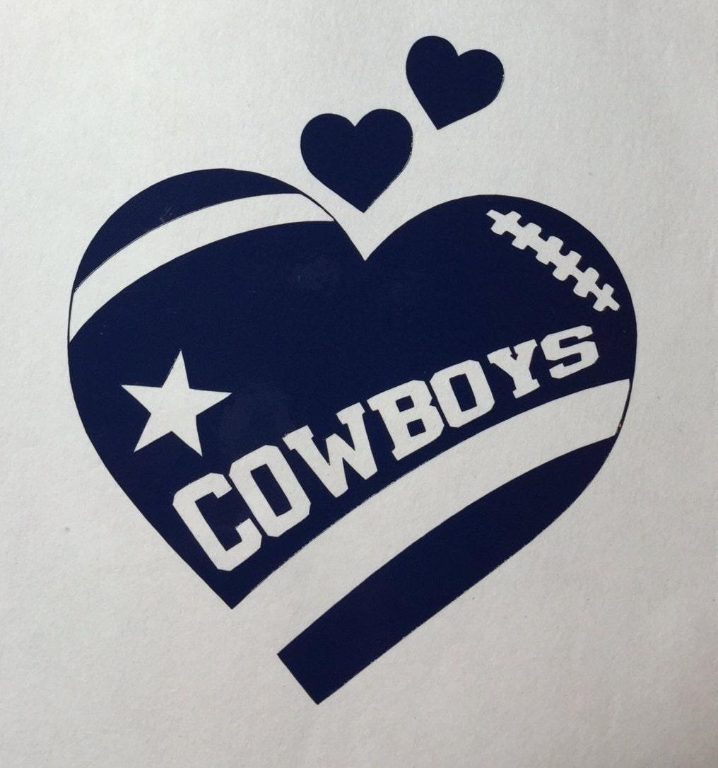 Dallas cowboys football heart vinyl decal bumper sticker zoom kristyandbryce Choice Image