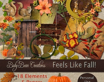 Digital Scrap Kit in the colors of the fall season.