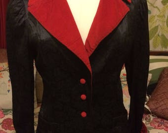 1980's Black and Red Satin Women's Jacket