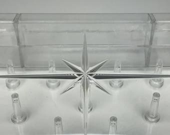 vintage clear lucite thread holder