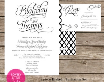 Blakeley Collection Wedding Invitation and RSVP design - DIY Printable - Lovely Little Party - You Choose Color