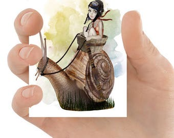 ACEO Card | Snail ACEO Card | ACEO Print | Lowbrow Art | Artist Trading Card | Going Nowhere Fast
