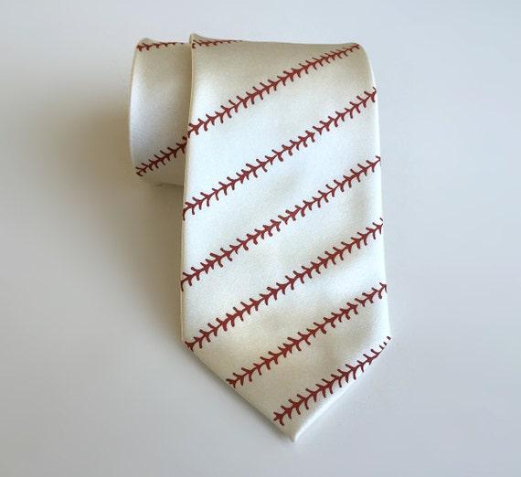 Baseball necktie - baseball stitching print men's tie