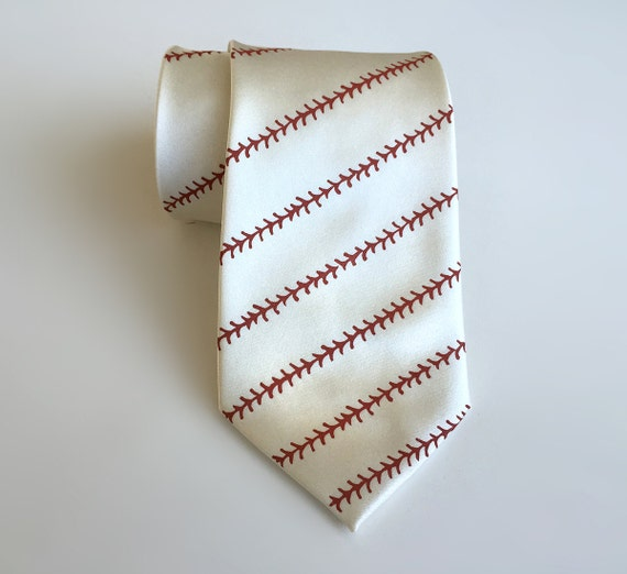 Baseball necktie - baseball stitching print men's tie