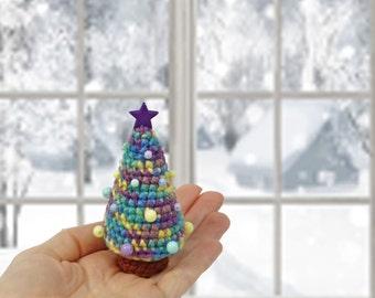 Miniature Christmas tree Christmas decoration Table Christmas tree Christmas gift Soft Christmas tree Winter holiday decor Crochet Xmas tree