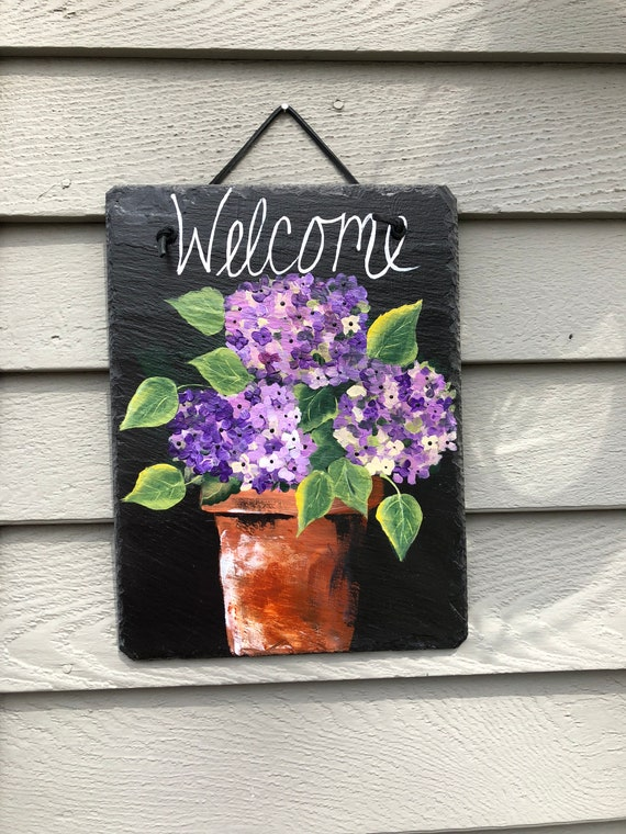 Door hangers, Painted Slate- Purple geraniums Welcome sign , welcome plaque, Garden decor, Patio decor, Gift for Mom, Mother's Day gift