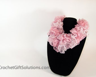 Child's Blend of Pink Ruffle Scarf, Small Pink Sashay Ruffle Scarf, Bell Ruffle Scarf, Knit Ruffle Scarf
