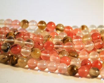 Watermelon Tourmaline 15 inch strand of Natural 8mm gemstone beads for Malas and Jewelry making - Jewelry Supplies - Pink Stone Beads