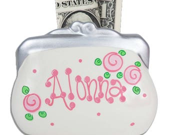 Personalized Ceramic Purse Coin Bank