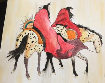 Watercolor Native American horse print