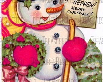 Merry Christmas Snowman Card #35 Digital Download
