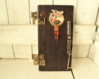 Wood fairy door metal fixtures upcycled vintage findings imaginative play prop wall art/ free shipping US