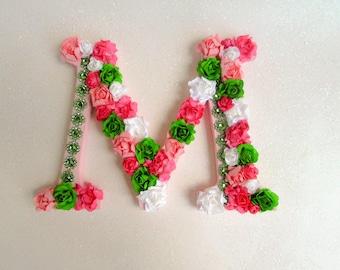 Custom name letter - Floral letter - Flower letter M - Wedding decor - Green pink letter M - Flower name letter - Nursery - Wall decor