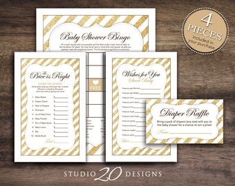 Instant Download Gold Glitter Baby Shower Games Pack, Printable Bingo Cards, Price Is Right, Wish for Baby, Gold Glitter Diaper Raffle #55A