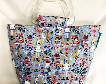 Tote Bag Purse Handbag Alice In Wonderland Blue Cotton Queen of Hearts White Rabbit Cheshire Cat gifts for her purse first