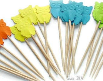 Mixed Blue,Green, Yellow & Orange embossed Owl double-sided Cupcake Toppers, Food Picks-Set of 24 pcs