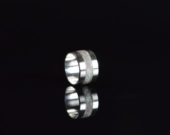 Sterling Silver Ring with a diamond pavé central band