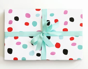 Polka Dot Wrapping Paper Colorful Gift Wrap Hand Drawn Wholesale Wrapping Paper Rolls Birthday Gift Wrap Supplies Pink Turquoise Black Red