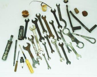 Antique Lot of 17 pcs Wrenches+ 8 pcs Metal Motor Instruments + 2 pcs straight screwdriver- Vintage Wrenches Set - Mans Set- Metal Set Tools