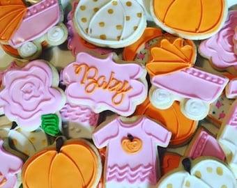 1 dozen little pumpkin fall harvest baby shower cookies!