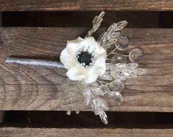 Whire poppy boutonniere with clear and silver beads. Corsage. Grooms boutonniere. Autumn wedding, winter wedding.