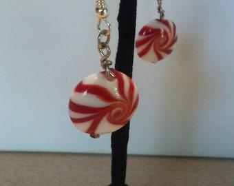 """Earrings - """"Peppermints"""" glass red and white peppermint swirls dangle earrings"""