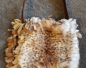 Unique Leather and Fur, Fringed, Ruffled Handbag Purse by Phoebe & Josephine Artist Made, Edgy, Chic, Hippie, Boho